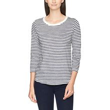 SELECTED FEMME Damen Langarmshirt Sfmy Perfect 3/4 Tee-Stripe, Mehrfarbig (Bright White Stripes:Peacoat), 36 (Herstellergröße:S)