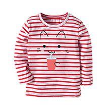 JERFER Karikatur KatzeT-Shirt Tops Neugeborene Babykleidung Kleinkind Bluse Kinderbekleidung Babykleider Mädchen Junge Rundhals Langarmshirts 2-7Jahre (Wassermelonenrot, 6T)