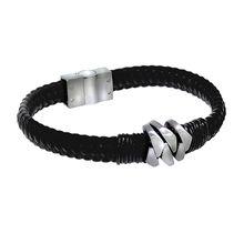 ZEEme Stainless Steel Armband Lederband mit EdelstahlverschlußArmbänder schwarz Damen