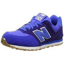 New Balance Unisex-Kinder 574 Leather Mesh Sneakers, Blau (Blue), 35.5 EU