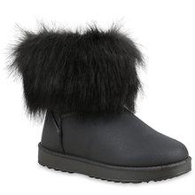 Damen Stiefeletten Stiefel Kunstfell Schlupfstiefel Boots Schuhe 110428 Grau 41 Flandell