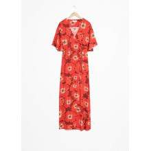 Poppy Print Wrap Dress - Red