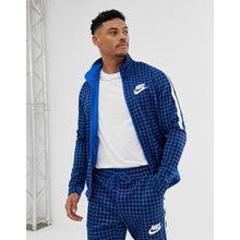 Nike - BQ0675-480 - Blaue Trainingsjacke mit Vichykaros - Blau