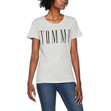 Tommy Jeans Damen T-Shirt Tjw Clean Logo Tee, Grau (Light Grey HTR 000), Medium