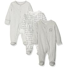 Mamas & Papas Unisex Baby Schlafstrampler 3PK B&W; Sleepsuits, 3er Pack, Multicolor (Black/Grey), 68