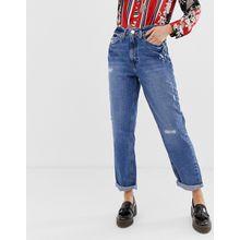 River Island - Mom-Jeans mit Rissen in mittlerer Waschung - Blau