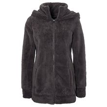 Sublevel Damen Teddy-Fleece Mantel | Kuscheliger Langer Fleecemantel mit hohem Kragen brown XS