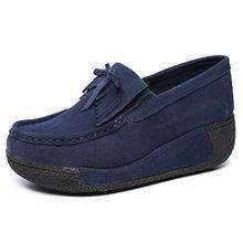 Eagsouni Damen Moccasin Keilabsatz Plateau Loafers Creeper Schuhe Platform Sneaker Freizeit Wedge Slippers Halbschuhe