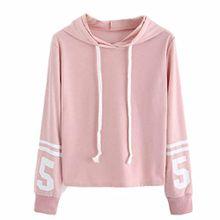 FEITONG Damen Hoodie Pullover, Langarm Nummern Drucken Casual Sweatshirt Pullover mit Kapuze Tops (S, Rosa)