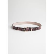 Croco Leather Belt - Red