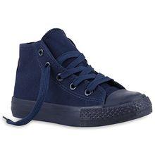 Kinder Sneakers Turn Denim Sneaker High Stoff Schnürer Schuhe 140018 Dunkelblau Total 28 Flandell