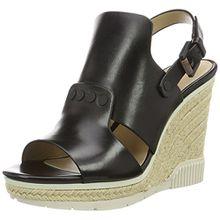 Calvin Klein Jeans Damen Lalla Vacchetta Offene Sandalen mit Keilabsatz, Schwarz (Blk), 40 EU