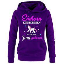 Einhorn Königinnen wurden im Juni geboren ! Damen HOODIE Sweatshirt mit Kapuze LILA, Gr.S
