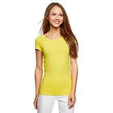 oodji Ultra Damen Tagless Tailliertes T-Shirt Basic (2er-Pack), Gelb, DE 34/EU 36/XS