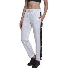 Urban Classics Damen Sporthose Button Up Track, Mehrfarbig (Wht/Blk/Wht 00863), W29 (Herstellergröße: L)