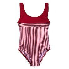La-V Mädchen Badeanzug Rot Gestreift/Größe 152/158