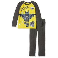Lego BATMAN Jungen Zweiteiliger Schlafanzug 161987, Gris (Marengo Mélange/White/Dandelion 13-0758), 4 Jahre