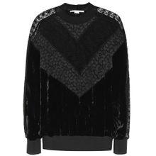 Pullover mit Samt und Spitze