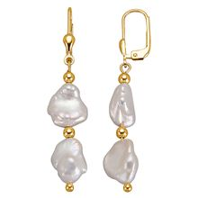 KLiNGEL Ohrringe mit Keshi-Süßwasserzuchtperlen weiß Damen