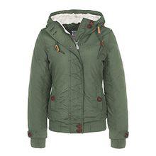 Sublevel Damen Winterjacke mit Kapuze & Stehkragen | Kapuzenjacke | Warme Steppjacke mit Daumenloch und geräumigen Taschen middle-green M