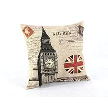 kimberleystore London Union Jack Big Ben Baumwolle Leinen Kissenbezug