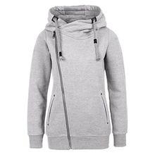 Sublevel Sweatjacke mit Zipper & Kapuze | Cooler Damen Hoodie - schräger Reißverschluss, Uni-farben grey S