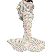 Tiaobug Meerjungfrau Schwanz Flosse Decke Handgemachte Gestrickte Schlafsack Wohnzimmer Kuscheldecke Decke Kostüm für Erwachsene und Kinder