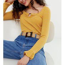 Glamorous - Exklusiver Taillen- und Hüftjeansgürtel aus Rattan mit Schnalle in Schildpattoptik - Beige