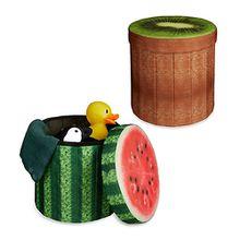 "2er-Set Sitzhocker ""Melone-Kiwi"" braun"