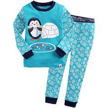 Vaenait Baby Kinder Jungen Nachtwaesche Schlafanzug-Top Bottom 2 Stueck Set Egloo Penguin XL
