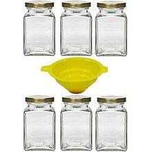 Viva Haushaltswaren 6 x eckiges Marmeladenglas/Gewürzglas 260 ml mit goldfarbenem Schraubverschluss, Gläser Set mit Deckel als Einmachgläser, Vorratsdose etc. verwendbar (inkl. Trichter)