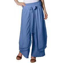 CASPAR KHS001 Damen Baumwoll Palazzo Hose , Farbe:jeans blau