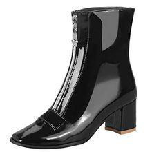 AIYOUMEI Damen Lackleder Stiedeletten mit Reißverschluss und 6cm Absatz Kurzschaft Stiefel