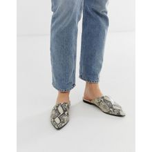 Vagabond - Katlin - Spitze Pantoletten aus Leder mit Schlangenmuster - Weiß