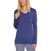 Schiesser Damen Schlafanzugoberteil Mix & Relax Shirt 1/1 Arm, Gr. 34, Blau (dunkelblau 803)