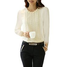 Minetome Damen bluse Spitzenbluse Langarmshirts Perlen Stehkragen Tops Tuniken Oberteil Slim Fit Tuniken ( Weiß EU XL )