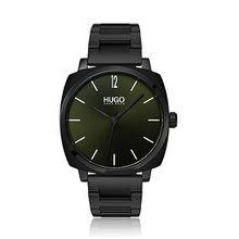 Quadratische Uhr aus schwarz beschichtetem Edelstahl mit grünem Zifferblatt