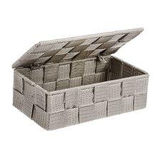 Wenko 22572100 Aufbewahrungskorb mit Deckel Adria Taupe Mini - Aufbewahrungsbox, Badkorb mit Deckel, Polypropylen, 18 x 6 x 10 cm, taupe