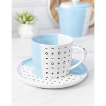 Root - 7 - Teetasse und Untertasse in Blau - Mehrfarbig