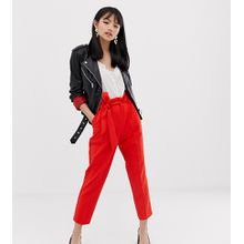 Miss Selfridge Petite - Rote Hose mit Paperbag-Taille - Rot