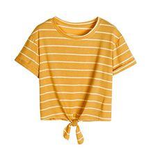 KEERADS T-shirt Damen Sommer Bauchfrei Gestreift Crop Tops Streifen Oberteile Bluse Shirt (M, Gelb)