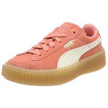 Puma Unisex-Kinder Suede Platform SNK PS Sneaker, Pink (Shell Pink-Whisper White), 35 EU