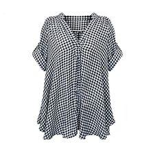 FEITONG Damen Sommer Beiläufige Kariertes Hemd Langarm Bluse T-Shirt Tops (50-52)