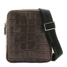 Braun Büffel Umhängetasche LISBOA in modischem Reptilien-Design Handtaschen braun Herren