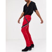 ASOS DESIGN – Bein-Harness aus schwarzem Kunstleder mit silbernen Ketten