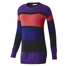 adidas Damen Pullover Strickpullover NEO Longpullover Stripe Sweater (M, coll purple)