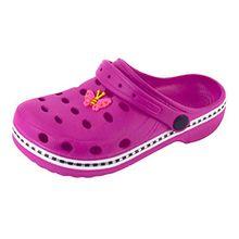 Kinder Clogs & Pantoletten Hausschuhe Badeschuhe Aquaschuhe mit Sticker rosa, grün, blau, rot Gr.18-35 (24/25, Rosa)