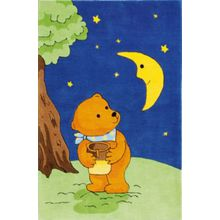 Spiegelburg Kinderteppich Mondbär mit Honigtopf blau
