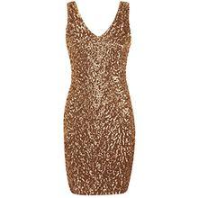 PrettyGuide Damen reizvoller tiefer V-Ausschnitt Pailletten Glitzer Bodycon Stretchy Minipartei-Kleid Gold