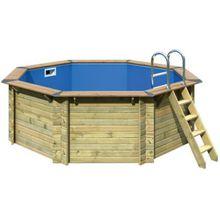 Karibu Massivholz-Pool mit Douglasie-Holzdeck, Ø400 cm, inkl. Vlies, Folie und Edelstahlleiter beige